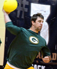 Green Bay Packers quarterback Aaron Rodgers shows off his throwing arm in a recent dodgeball game.