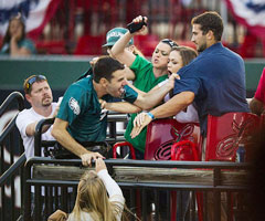 A fight broke out in the stands during LeSean McCoy's charity softball game Saturday in Lancaster, Penn. (Paul Chaplin/Pennlive.com)