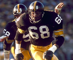 Pittsburgh Steelers defensive end L.C. Greenwood during a 31-19 win over the Los Angeles Rams in Super Bowl XIV. (Photo by Bill Smith/NFL)