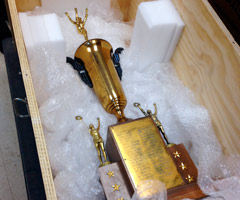 The Browns' 1946 championship trophy was found in a North Carolina garage.