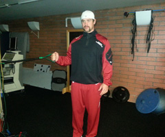 (Fig-1) - Arizona Cardinals quarterback Drew Stanton demonstrates The Internal Rotation exercise.
