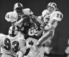 Clay Brown's catch of a Jim McMahon Hail Mary pass gave BYU a thrilling win in the 1980 Holiday Bowl.