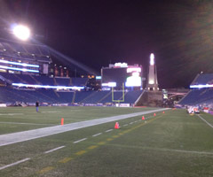 NFL Media's day begins long before kickoff in Foxborough, prior to sunrise over Gillette Stadium.