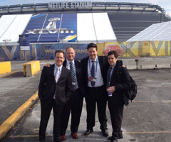The Around the League crew arrives at MetLife Stadium for Super Bowl XLVIII.