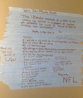 Austin Seferian-Jenkins' lifelong goals still decorate his childhood room to this day. (Courtesy of Linda Seferian)