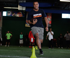 Arizona Cardinals wide receiver Michael Floyd demonstrates how foot quickness can be trained in a variety of ways.
