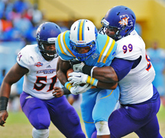 Northwestern State defensive tackle Deon Simon will participate in this month's combine. (Gary Hardamon/NSU Photographic Services)