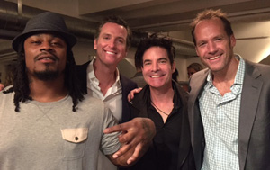 From left: Marshawn Lynch, California Lt. Gov. Gavin Newsom, Train singer Patrick Monahan and Doug Hendrickson. (Courtesy Shyla Hendrickson)