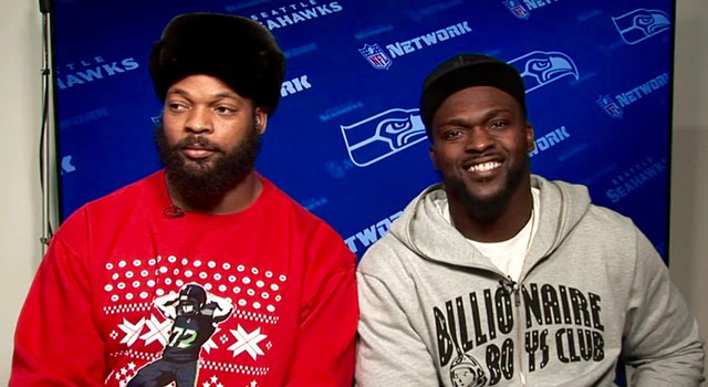 the seahawks defensive end has shown up for media engagements this week in a christmas sweater that features his likeness in mid thrust form - Seahawks Christmas Sweater