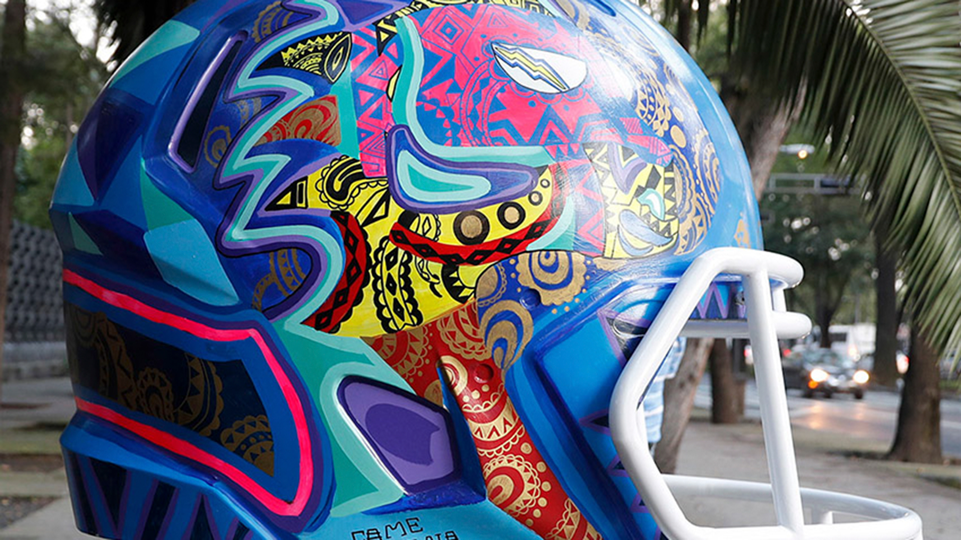 Helmets painted by various Mexican artists on display as a public art exhibit at Paseo de la Reforma in Mexico City. The Houston Texans and the Oakland Raiders will face-off in Mexico City on Monday, Nov. 21st. (Ben Liebenberg/NFL)