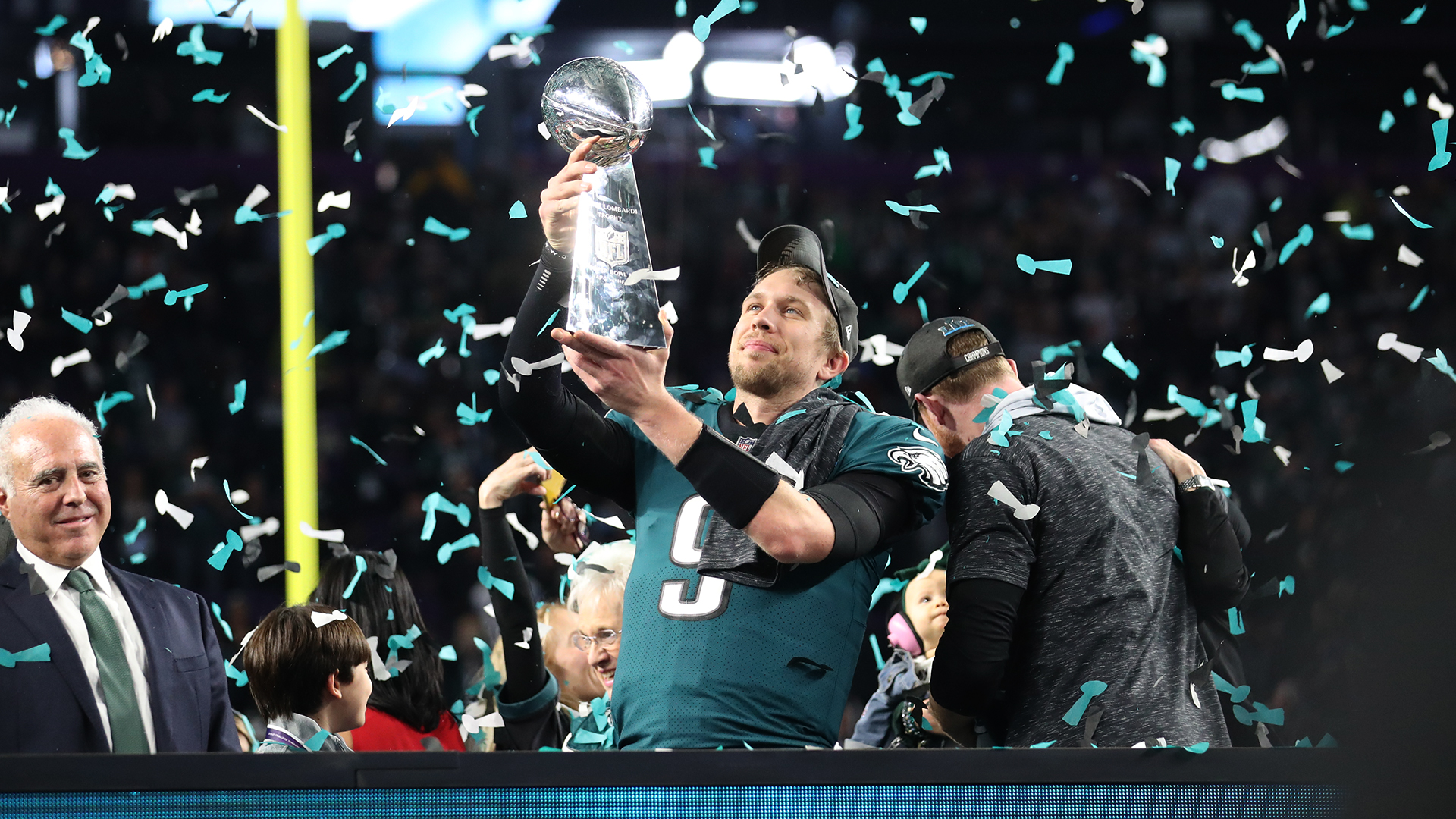 during the NFL Super Bowl LII football game against the Philadelphia Eagles on Sunday, Feb. 4, 2018 in Minneapolis, Minn.