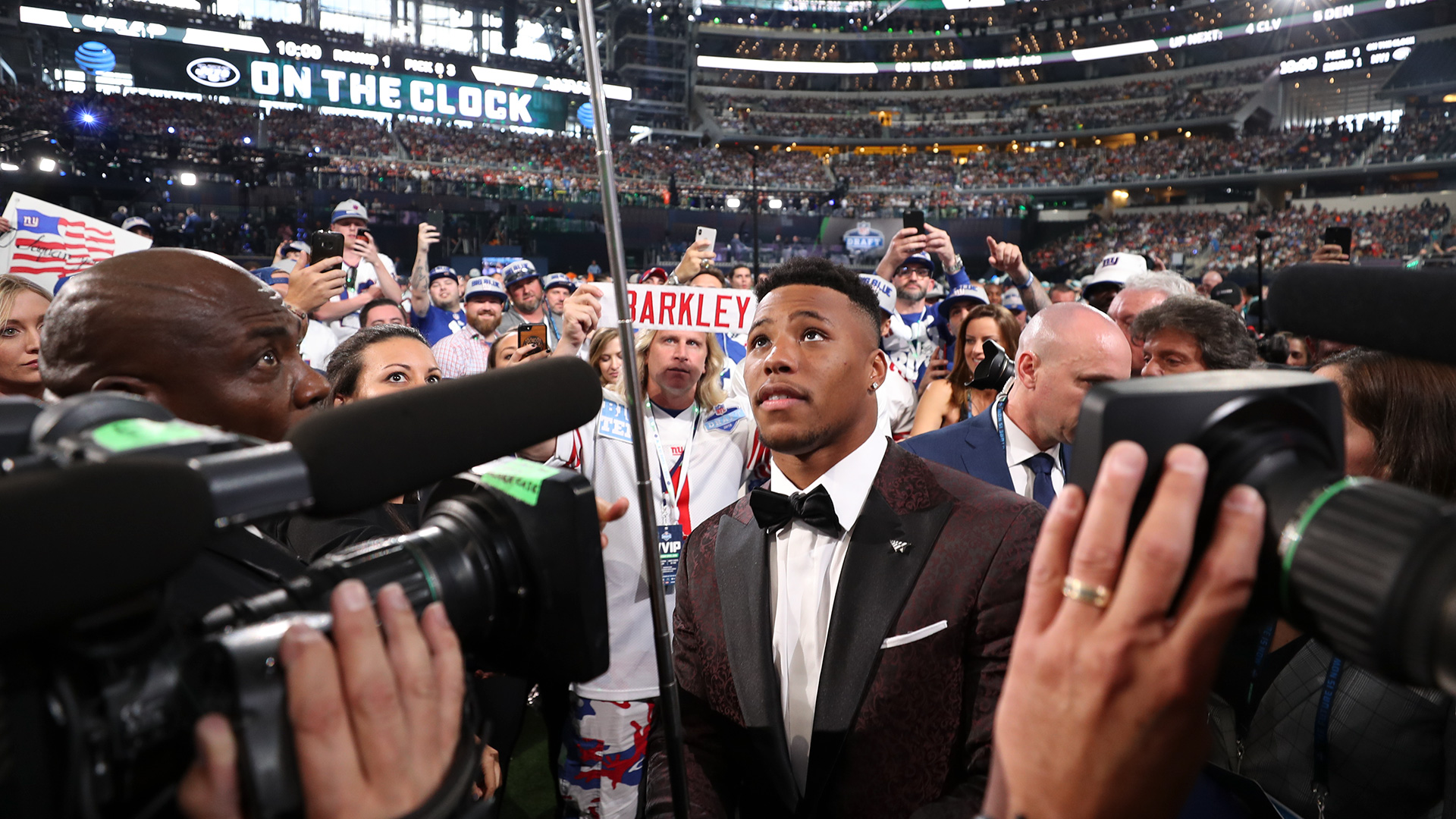 Penn State running back Saquon Barkley during the 2018 NFL Draft on Thursday, April 26, 2018 in Arlington, Texas. (Logan Bowles/NFL)
