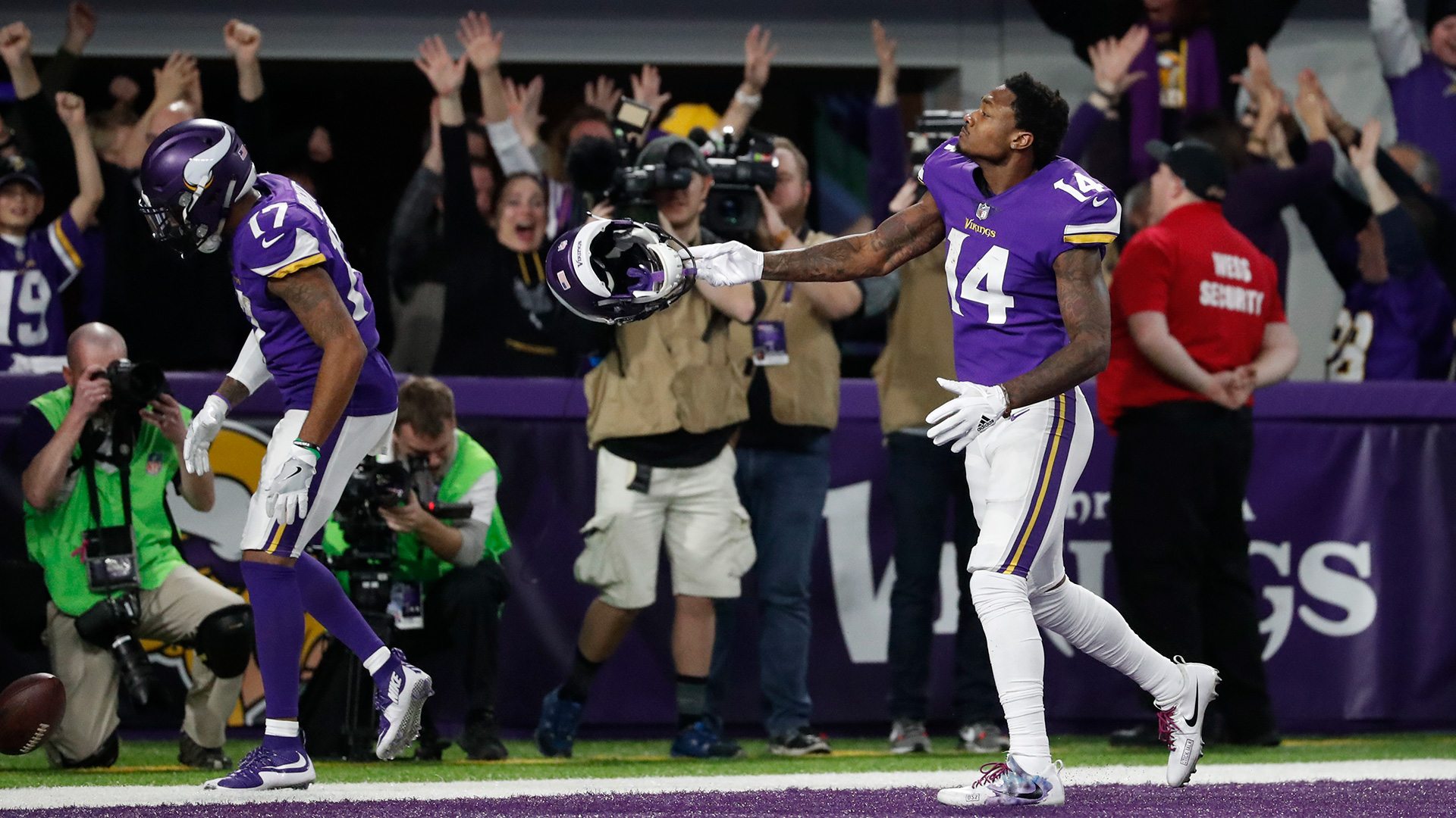 Minnesota Vikings wide receiver Stefon Diggs (14) celebrates in the end zone after a game winning touchdown against the New Orleans Saints during the second half of an NFL divisional football playoff game in Minneapolis, Sunday, Jan. 14, 2018. The Vikings defeated the Saints 29-24. (AP Photo/Jeff Roberson)