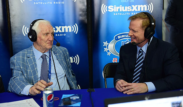 Gil Brandt (left) interviews NFL Commissioner Roger Goodell. (Lisa Lake/Getty Images for SiriusXM)