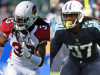 Tre Boston, Johnathan Cyprien visiting with Giants thumbnail