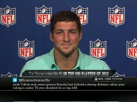 Video - Top 100 reaction:  Tim Tebow