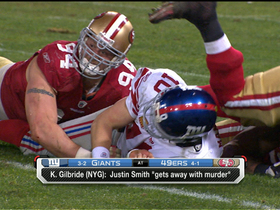 Video - New York Giants OC Kevin Gilbride: San Francisco 49ers defensive end Justin Smith 'gets away with murder'