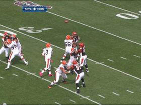 Video - Cleveland Browns quarterback Brandon Weeden picked off by Cincinnati Bengals defensive end Michael Johnson
