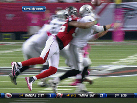 Video - Atlanta Falcons defensive end John Abraham forces Carson Palmer fumble