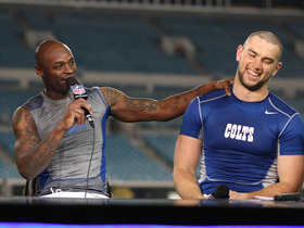 Video - Andrew Luck, Reggie Wayne visit postgame set
