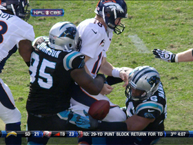 Video - Panthers sack Peyton Manning, recover fumble