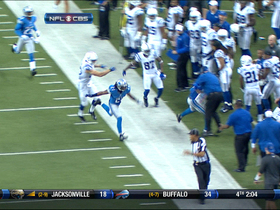Arians knocked down after Carey intercepts Luck