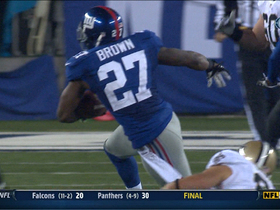 Video - New York Giants safety Stevie Brown picks off Drew Brees