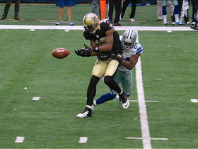 Colston fumbles, Graham recovers on 2-yard line