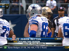 Video - Dallas Cowboys' Jason Witten breaks single-season record for catches by tight end