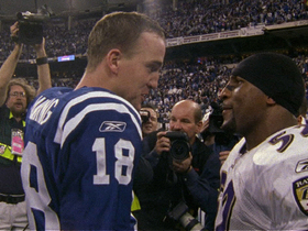Video - Baltimore Ravens linebacker Ray Lewis, Denver Broncos quarterback Peyton Manning share mutual admiration