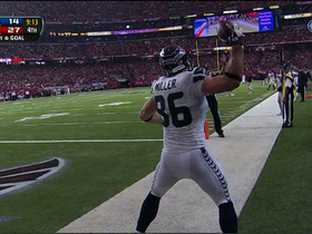 Video - Seattle Seahawks tight end Zach Miller catches a 3-yard touchdown pass from quarterback Russell Wilson