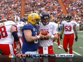 Video - Green Bay Packers center Jeff Saturday and Denver Broncos quarterback Peyton Manning share special snap