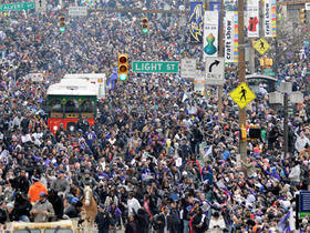 Video - Ravens Nation fills the streets