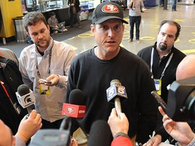Video - San Francisco 49ers head coach Jim Harbaugh happy to be back in Indy
