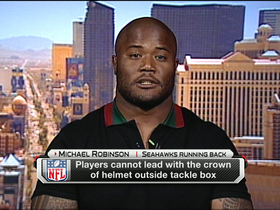 "Video - Seahawks RB Michael Robinson dislikes new ""Helmet Crown Rule"""