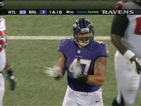 Video - Baltimore Ravens linebacker John Simon sacks Atlanta Falcons QB Sean Renfree