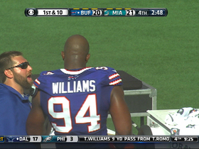 Video - Miami Dolphins quarterback Ryan Tannehill fumble recovered by the Buffalo Bills