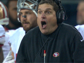 Video - San Francisco 49ers coach Jim Harbaugh flips out after call