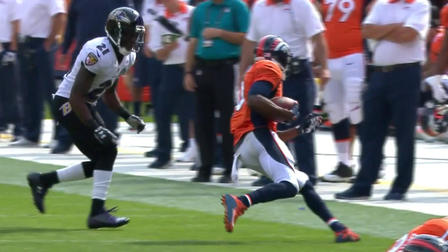 Broncos Peyton Manning pass to Emmanuel Sanders for 18 ...