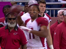 Lions Dan Orlovsky sends it to Cardinals Larry Fitzgerald on the sidelines