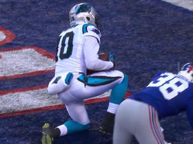 Panthers Cam Newton tosses to Corey Brown for a 20-yard touchdown