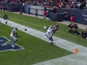 Lions James Ihedigbo intercepts Bears Jay Cutler in the end zone