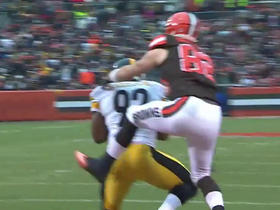 Austin Davis intercepted by James Harrison at goal line
