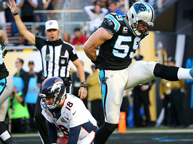 Watch: Broncos Peyton Manning sacked by Panthers Luke Kuechly for a nine yard loss