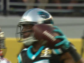 Watch: Cam Newton escapes sack and finds Devin Funchess for 24 yards