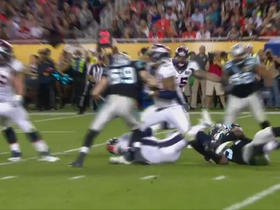 Watch: Broncos Peyton Manning sacked by Panthers Kony Ealy for 7-yard loss