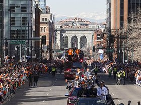 Watch: Broncos celebrate Super Bowl with people of Denver