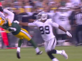 Watch: Derek Carr picked off by Damarious Randall