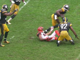 Watch: Tyler Boyd fumbles football, Steelers recover