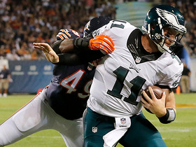 Wentz takes hard hit after red zone scramble